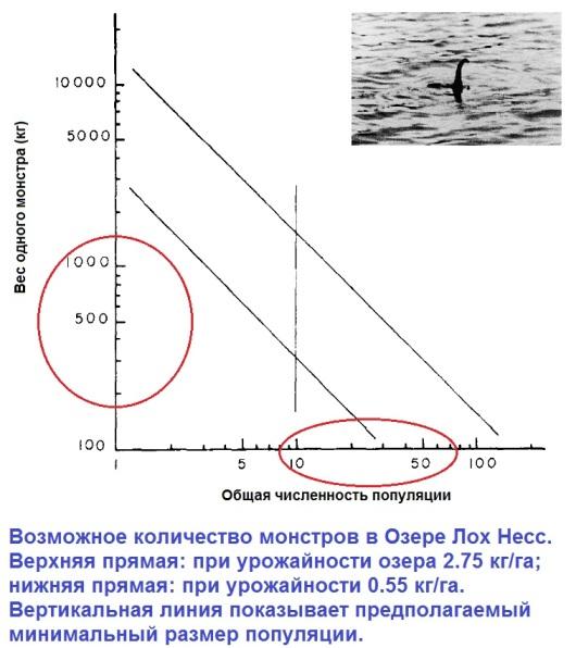 Численность популяции и размер отдельных чудовищ оз. Лох Несс