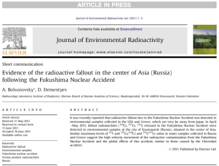 Evidence of the radioactive fallout in the center of Asia (Russia) following the Fukushima Nuclear Accident