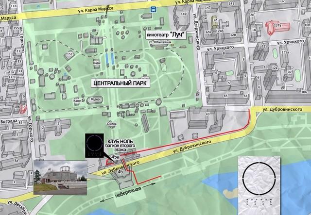 Карта расположения клуба «Ноль»