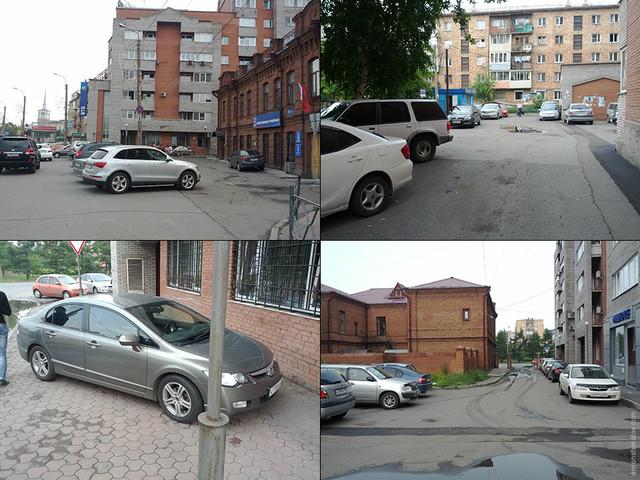 Пока новая парковка пустует, улица, тротуары и дворы перегружены припаркованными автомобилями.