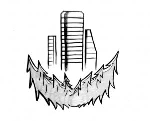 «Мегаполис в тайге», иллюстрация к креативной концепции