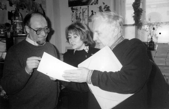 Конец 1990-х. С фотографом Ю. Белинским и писателем и художником Э. Кочергиным