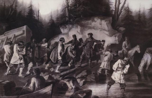 Василий Суриков. Петр I перетаскивает суда из Онежского залива в Онежское озеро. 1872