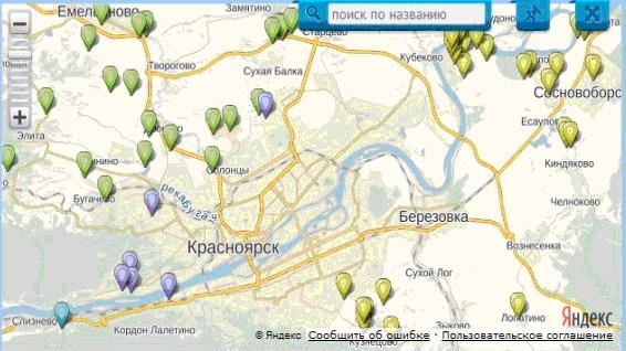Расположение основных дачных и коттеджных поселков вблизи Красноярска